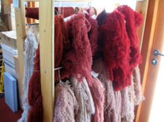Skeins of natural-dyed wool - The Nether Bailey in Stirling Castle, Scotland